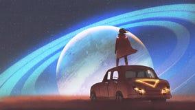 Equipe a vista do planeta em um horizonte ilustração do vetor