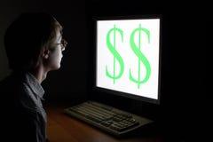 Equipe a vista no sinal de dólar fotografia de stock royalty free
