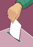 Equipe a votação colocando sua cédula na caixa Fotografia de Stock