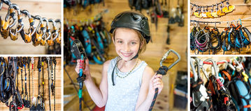 Equiped girl ready for high ropes course, collage. Little fully equiped girl ready for her belay high ropes course, recreative sport, collage Royalty Free Stock Image