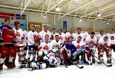 equipes do Gelo-hóquei após o fósforo fotos de stock royalty free
