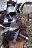 Equipmen militaires médiévaux Photographie stock libre de droits