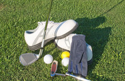 Equipment and accessories for golfers Royalty Free Stock Photos