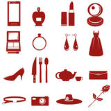 Equipment and accessories for lady graphic. Equipment and accessories for lady icon on white background Royalty Free Stock Photo