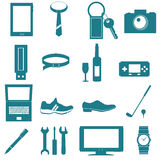 Equipment and accessories for men graphic. Equipment and accessories for men icon on white background Royalty Free Stock Image