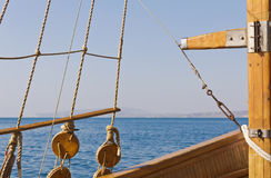 Equipment, accessory wooden pleasure yachts. In the background sea Stock Photos