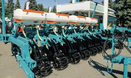 Equipment for agriculture. Agricultural equipment for tillage, sowing seeds, loosening the soil, machines for the production of agricultural products stock photo