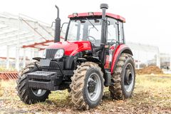 Equipment for agriculture, machines  presented to an agricultural exhibition.  Tractors outdoors Royalty Free Stock Image