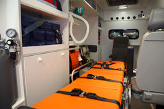 Equipment for ambulances. View from inside. Stock Images