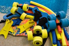 Equipment for aqua aerobics stock photos