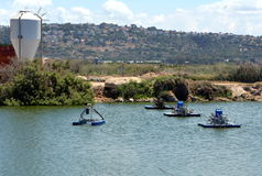 Equipment for artificial ponds for fish farming. Surface aerators Royalty Free Stock Photos