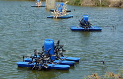 Equipment for artificial ponds for fish farming. Surface aerators Stock Images