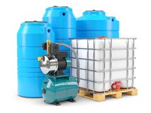 Equipment for autonomous water supply. Pumping station and PVC w Royalty Free Stock Images