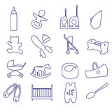 Equipment for baby outline icons set Royalty Free Stock Images