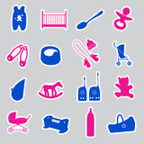 Equipment for baby stickers set eps10 Stock Photography