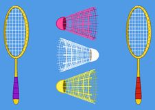 Equipment for the badminton. Isolated objects of sporting equipment for badminton game: two rackets and shuttlecock Stock Photo