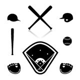 Equipment for baseball,  illustration. Royalty Free Stock Photography