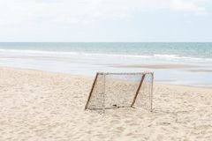 Equipment for Beach Soccer by the Sea. Royalty Free Stock Photography