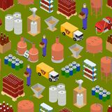 Equipment and Beer Production Background Pattern on a Green Isometric View. Vector. Equipment and Beer Production Background Pattern on a Green Isometric View Royalty Free Stock Photography