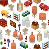 Equipment and Beer Production Background Pattern on a White Isometric View. Vector. Equipment and Beer Production Background Pattern on a White Isometric View Royalty Free Stock Image