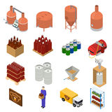 Equipment and Beer Production Set Isometric View. Vector Stock Image