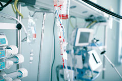 Equipment with the blood in the ICU Stock Images