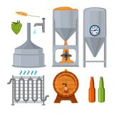 Equipment for the brewery. Pictures in cartoon style. Beer drink alcohol, brewery lager beverage, vector illustration Royalty Free Stock Photos