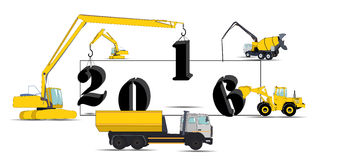 Equipment Builds Calendar for 2016. Vector. Illustration. EPS10 Royalty Free Stock Image