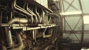 Equipment, cables and piping stock footage