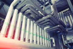 Industrial zone, Steel pipelines and valves royalty free stock images
