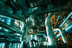 Equipment, cables and piping inside of a modern industr Stock Photo