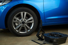 Equipment for changing car wheel. Change damage car wheel Stock Photo