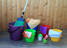 Equipment for cleaning in the house Royalty Free Stock Images