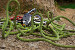 Equipment for climbing are on the rope. Royalty Free Stock Image