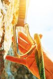 Equipment for climbing. Rope for climbing and quick-draws. Extre. Me sport concept Stock Images