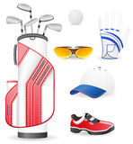 Equipment and clothing for golf vector illustratio Royalty Free Stock Images