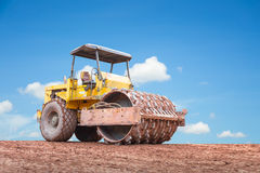 Equipment. Compaction equipment with clear sky background Royalty Free Stock Images