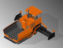 Equipment for the construction industry. Vector isometric illustration of asphalt paver. Equipment for the construction industry stock illustration