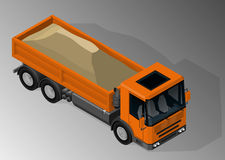 Equipment for the construction industry. Vector isometric illustration of dump truck loaded with sand. Equipment for the construction industry vector illustration