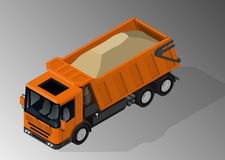 Equipment for the construction industry. Vector isometric illustration of dump truck loaded with sand. Equipment for the construction industry royalty free illustration