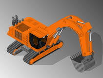 Equipment for the construction industry. Vector isometric illustration of a excavator. Equipment for the construction industry royalty free illustration