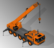 Equipment for the construction industry. Vector isometric illustration of mobile crane. Equipment for the construction industry vector illustration