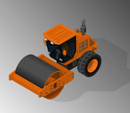 Equipment for the construction industry. Vector isometric illustration of a road roller. Equipment for the construction industry royalty free illustration