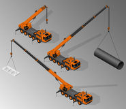 Equipment for the construction industry. Vector isometric illustration of three views of mobile crane. Equipment for the construction industry stock illustration