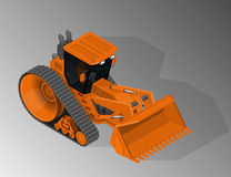 Equipment for the construction industry. Vector isometric illustration of tracked bulldozer. Equipment for the construction industry stock illustration