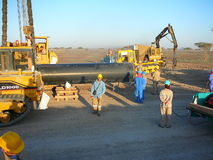 Equipment for construction of the oil pipeline Stock Images