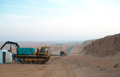 Equipment for construction of the oil pipeline. Preparation for construction and laying of pipelines stock images