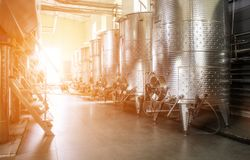 Equipment of contemporary winemaker factory. royalty free stock photography