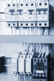 Equipment in control cabinet. Electrical wiring in the control cabinet stock image