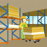 Equipment Delivery Process of Warehouse. Unloading Stock Photography